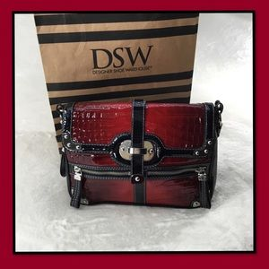 RAFE PURSE BLACK AND RED PATENT LEATHER